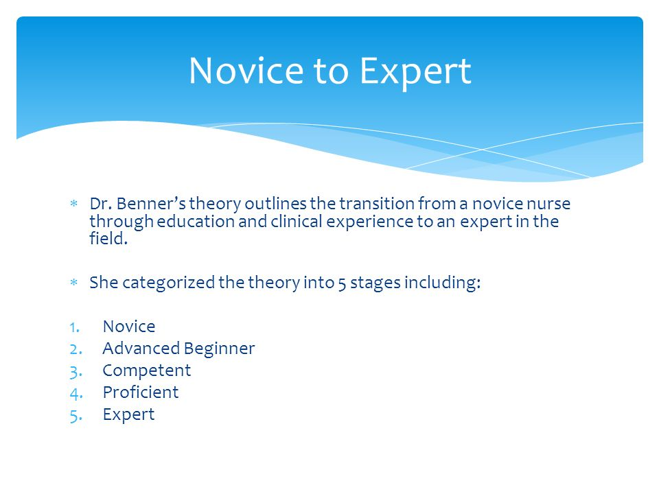 benners theory and usefulness essay International journal of nursing studies 45 (2008) 129–139 towards an alternative to benner's theory of expert intuition in nursing: a discussion paper.