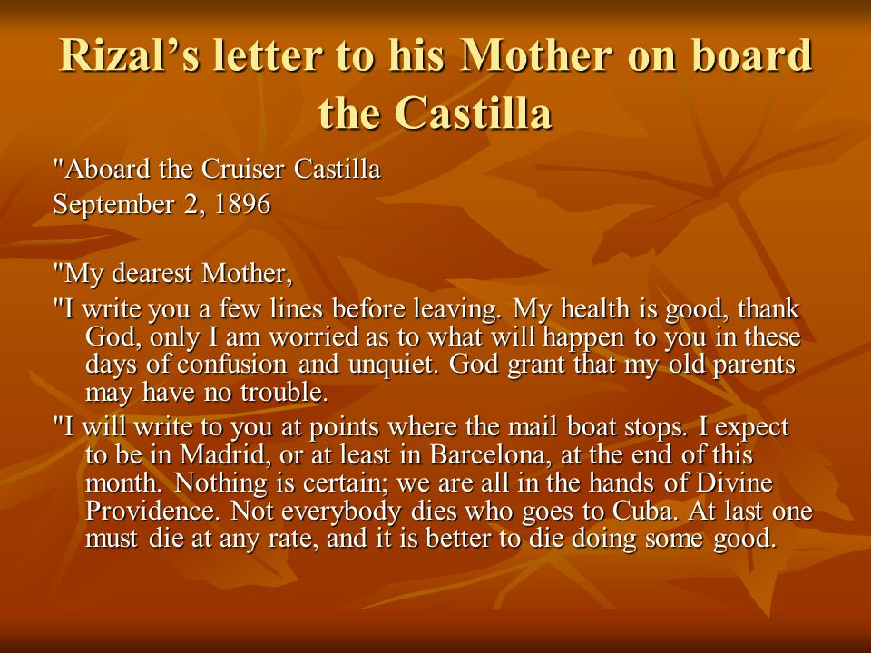 Rizal's letter to his Mother on board the Castilla