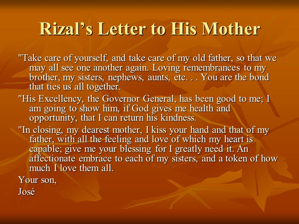 Rizal's Letter to His Mother