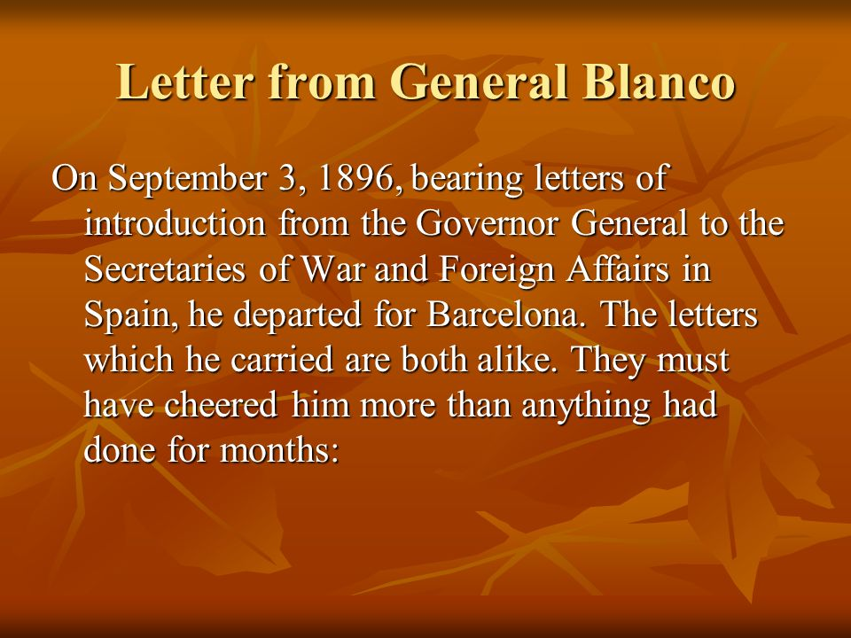 Letter from General Blanco