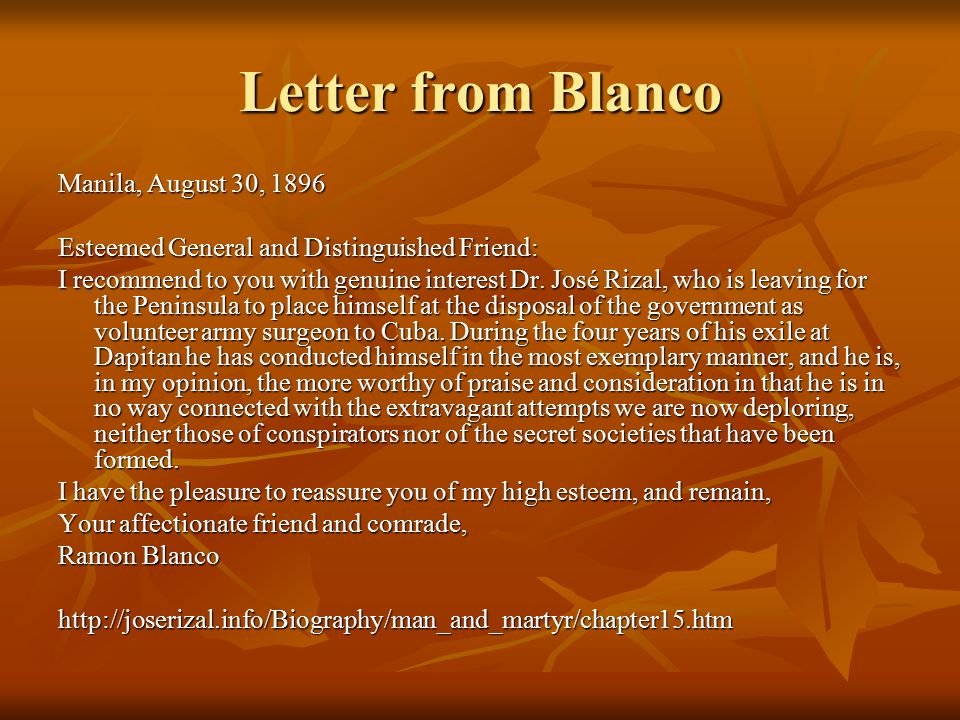 Letter from Blanco Manila, August 30, 1896
