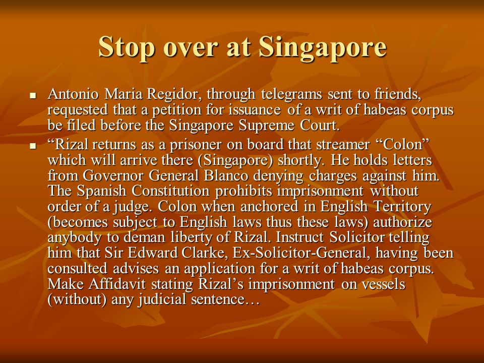 Stop over at Singapore