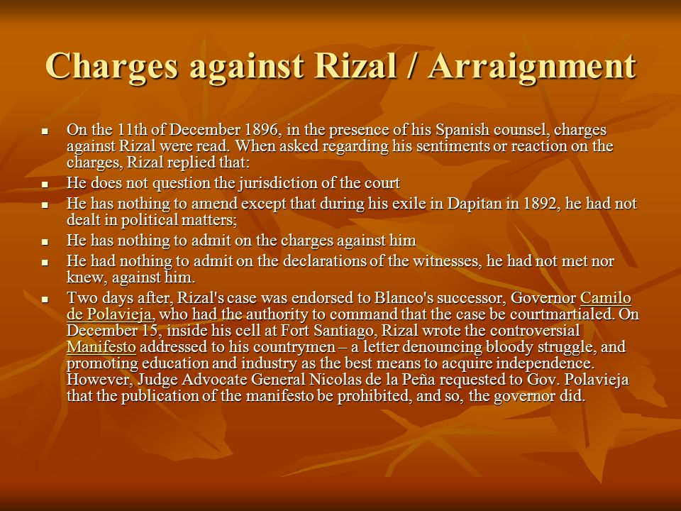 Charges against Rizal / Arraignment
