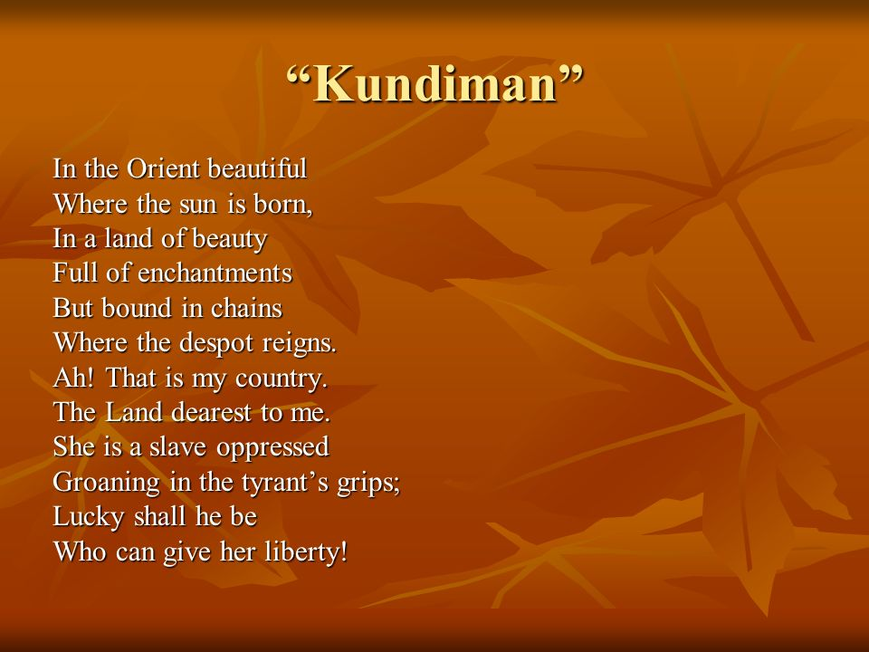Kundiman In the Orient beautiful Where the sun is born,