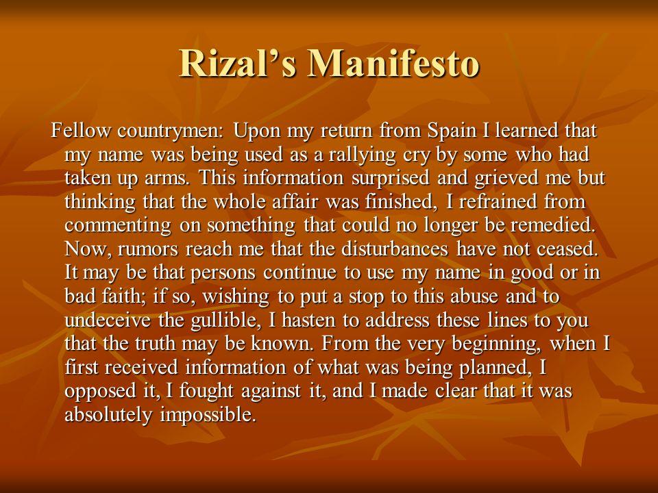 Rizal's Manifesto