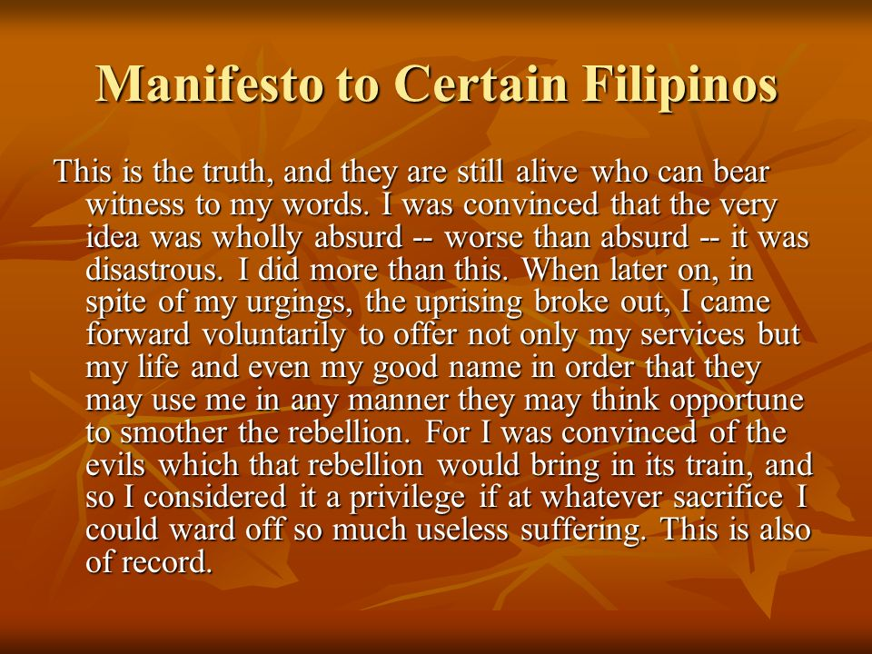 Manifesto to Certain Filipinos