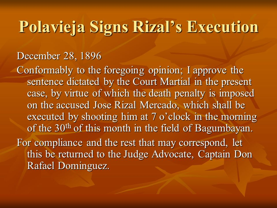 Polavieja Signs Rizal's Execution