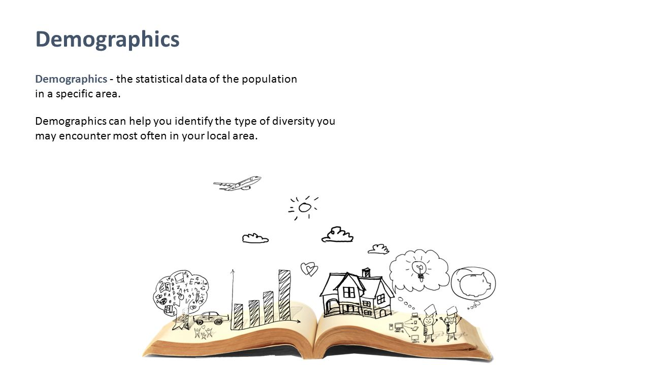 Demographics Demographics - the statistical data of the population in a specific area.