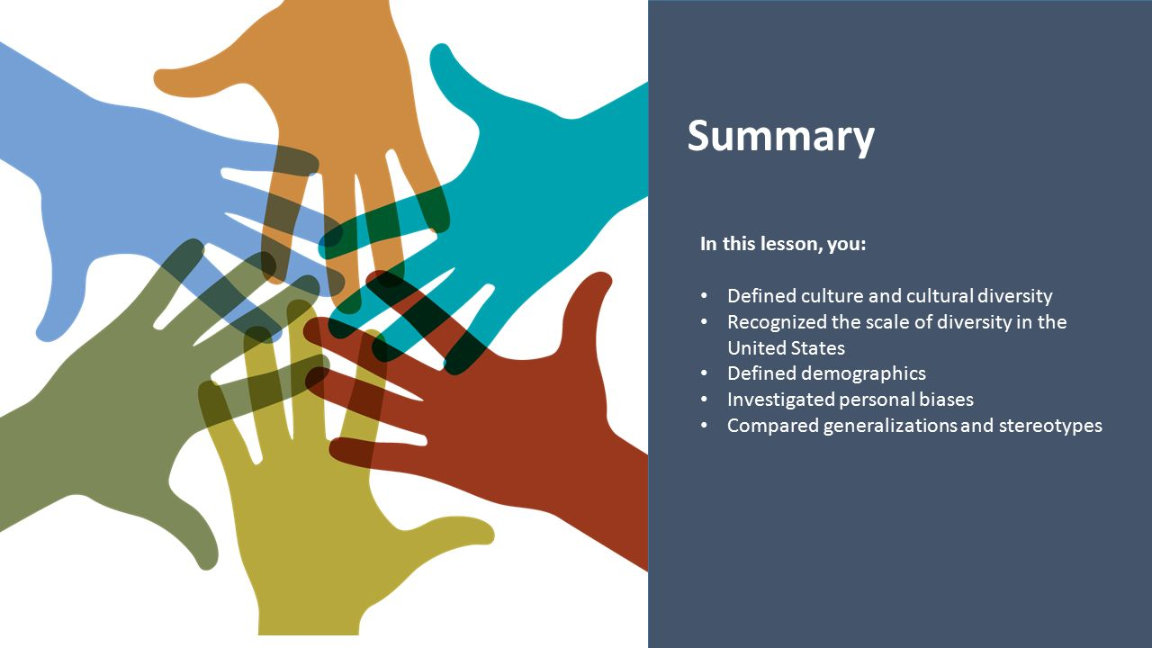 Summary In this lesson, you: Defined culture and cultural diversity