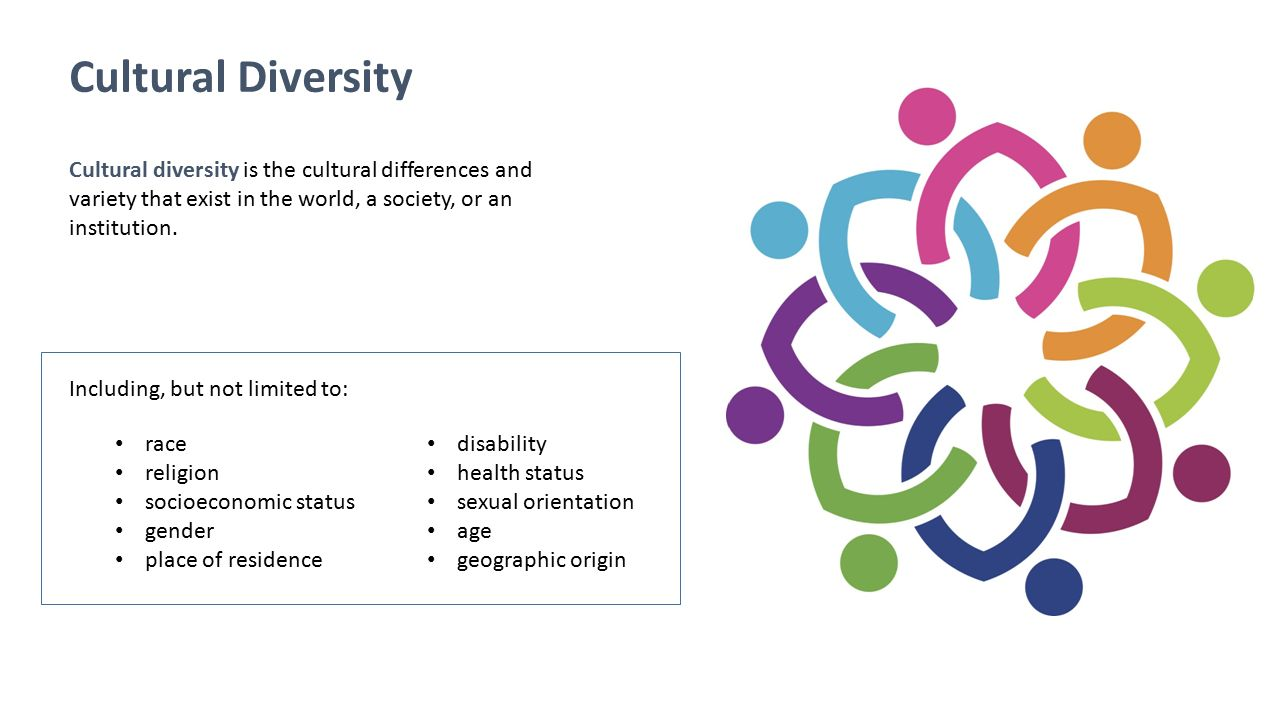 Cultural Diversity Cultural diversity is the cultural differences and variety that exist in the world, a society, or an institution.