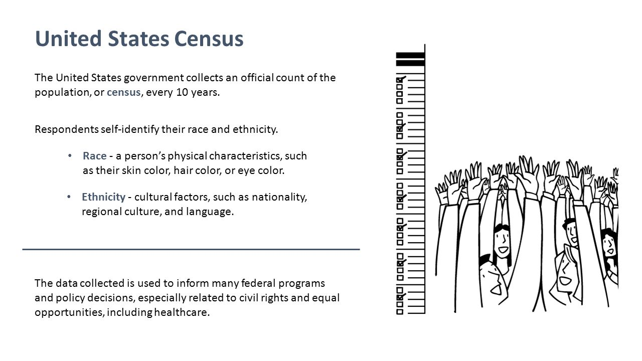 United States Census The United States government collects an official count of the population, or census, every 10 years.