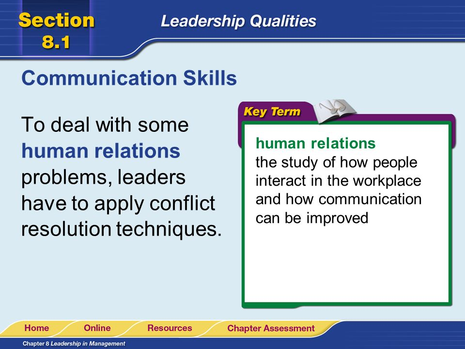 Communication Skills To deal with some human relations problems, leaders have to apply conflict resolution techniques.