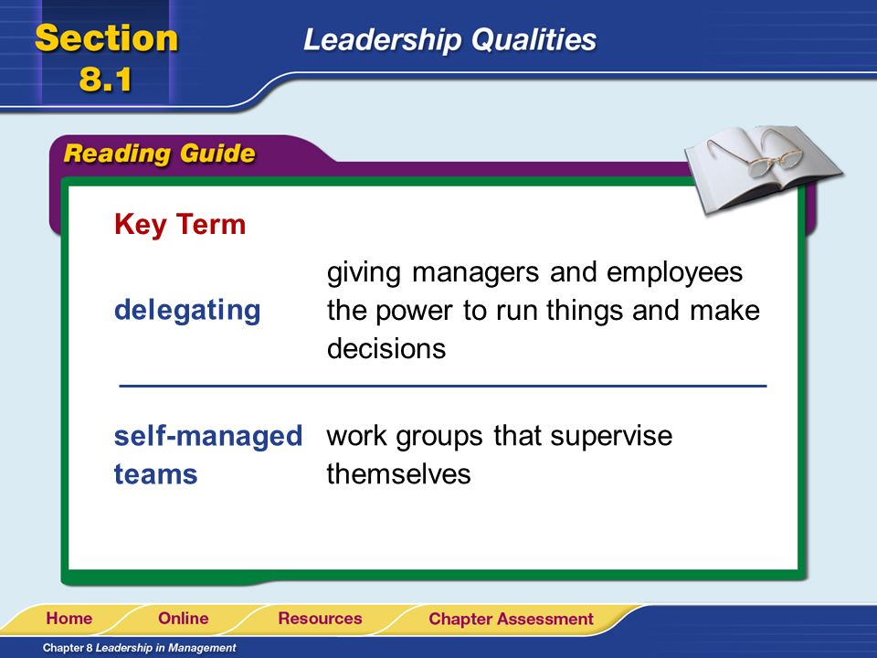 Key Term giving managers and employees the power to run things and make decisions. delegating. self-managed teams.