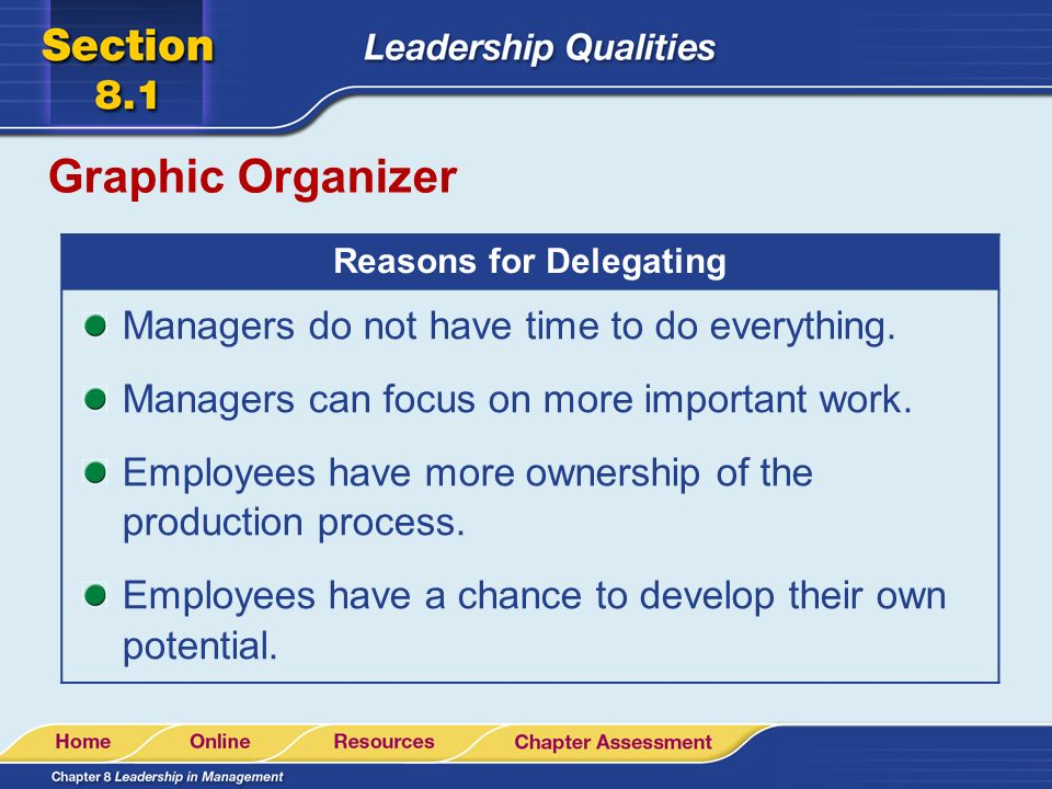 Reasons for Delegating