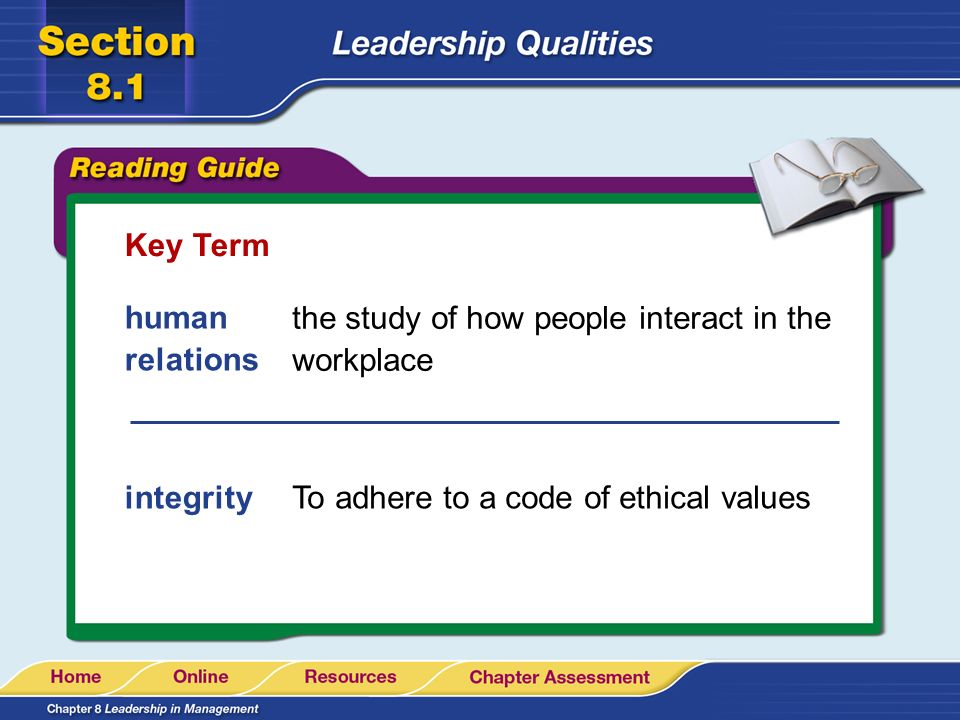 Key Term human relations. the study of how people interact in the workplace.