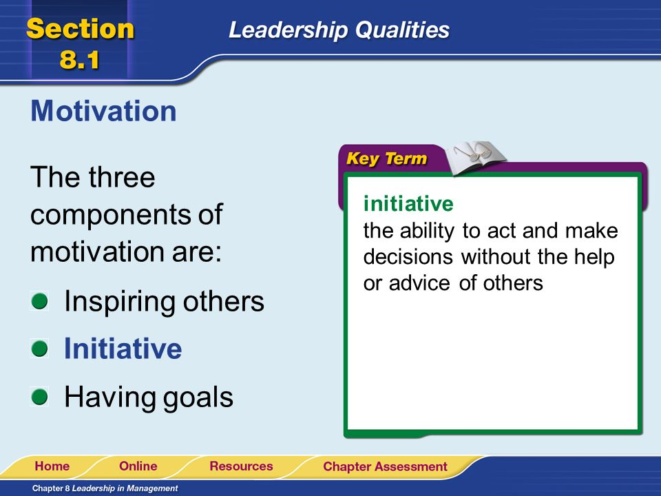 The three components of motivation are: