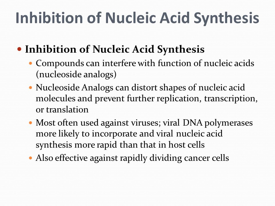 Inhibition of Nucleic Acid Synthesis