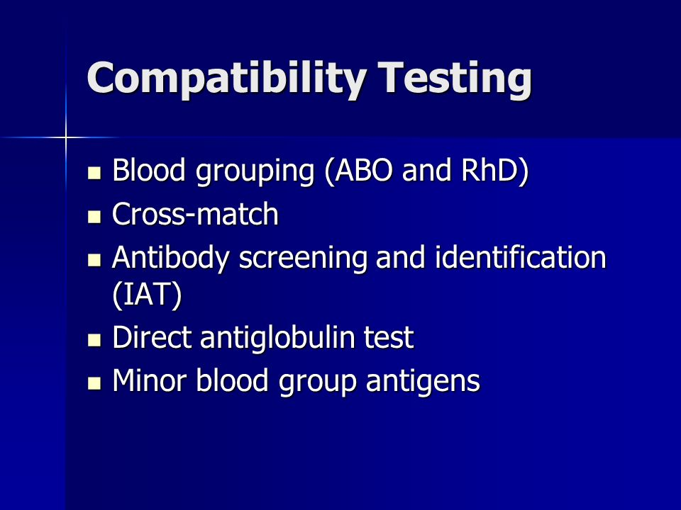 antibody screening identification and cross match This consists of an abo and rh d type and an antibody screen for detection samples for transfusion testing must taken for cross matching/group and hold must.