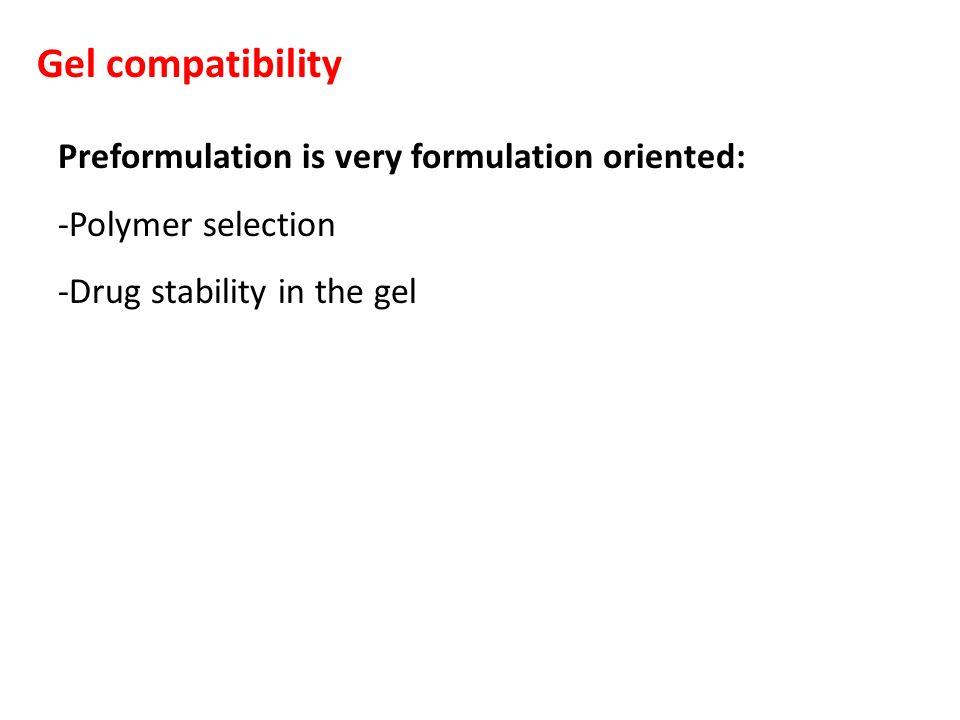Gel compatibility Preformulation is very formulation oriented: