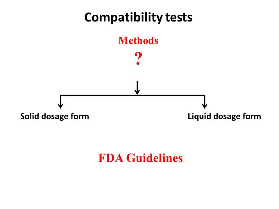Compatibility tests FDA Guidelines Methods Solid dosage form