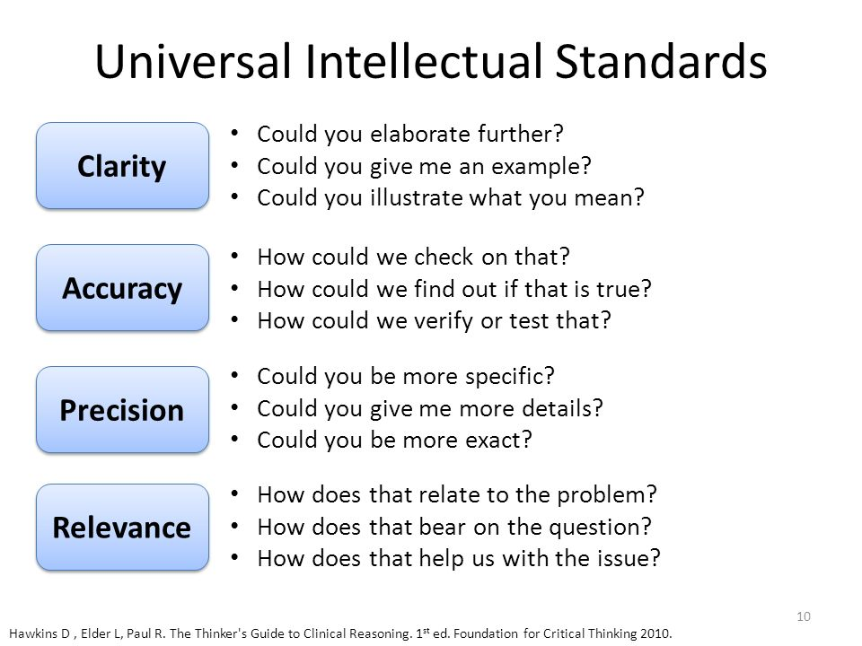 universal intellectual standards thinking Eight universal intellectual standards clarity, accuracy, precision critical thinking is considered system-2 thinking because it is often focused on resolving.