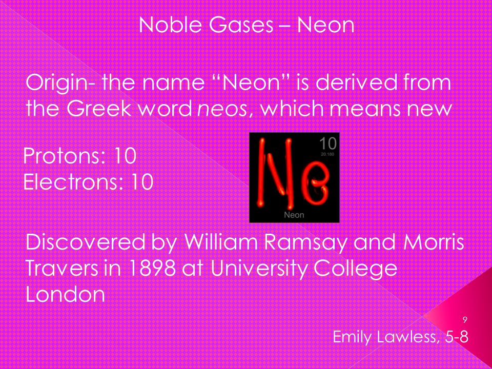 Noble Gases Neon Origin The Name Is Derived From Greek Word Neos