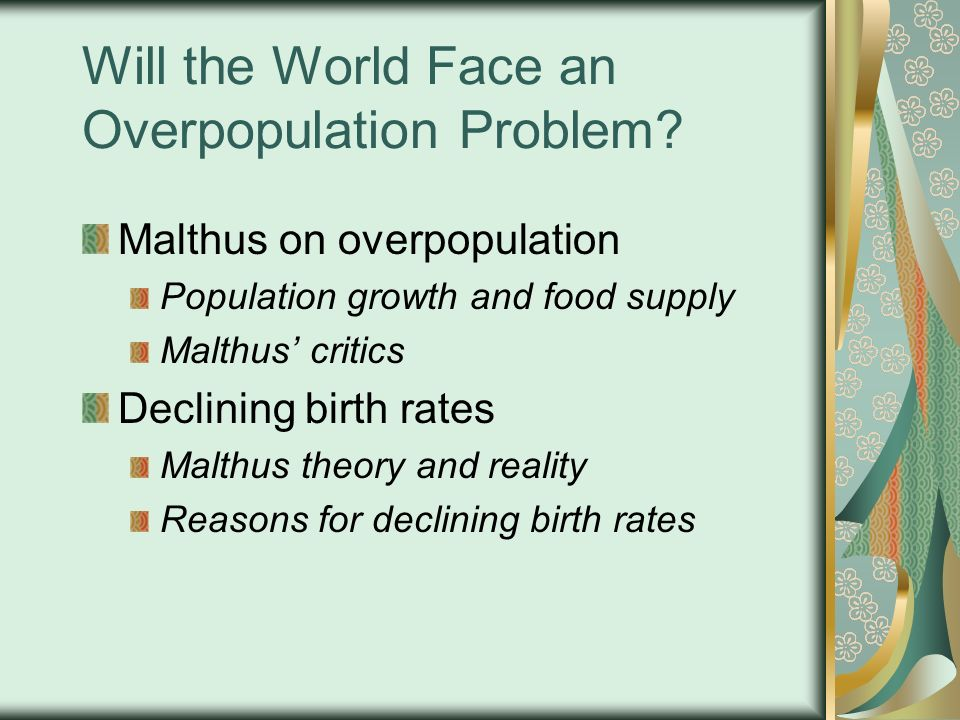 "the increasing problem of overpopulation in the world If we grow the world's middle class, we increase the pressure on earth's natural ecosystems there is, however, one exception to our ""catch 22"" world, and that concerns population viewed from almost any angle, addressing population is a win-win proposition."