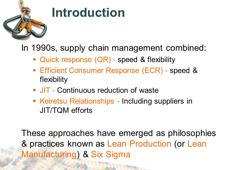 introduction to lean supply chain management Lean supply chain management is not exclusively for those companies who manufacture products, but by businesses who want to streamline their processes by eliminating waste and non-value added activities companies have a number of areas in their supply chain where waste can be identified as time, costs, or inventory.