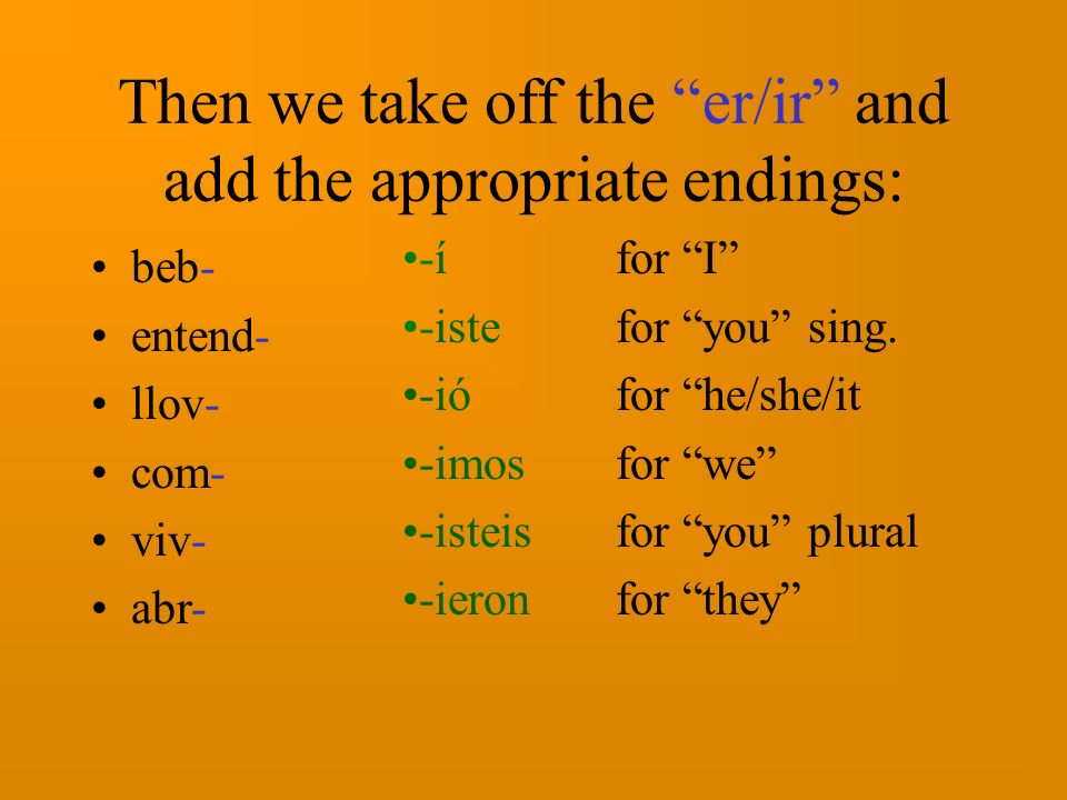 Then we take off the er/ir and add the appropriate endings: