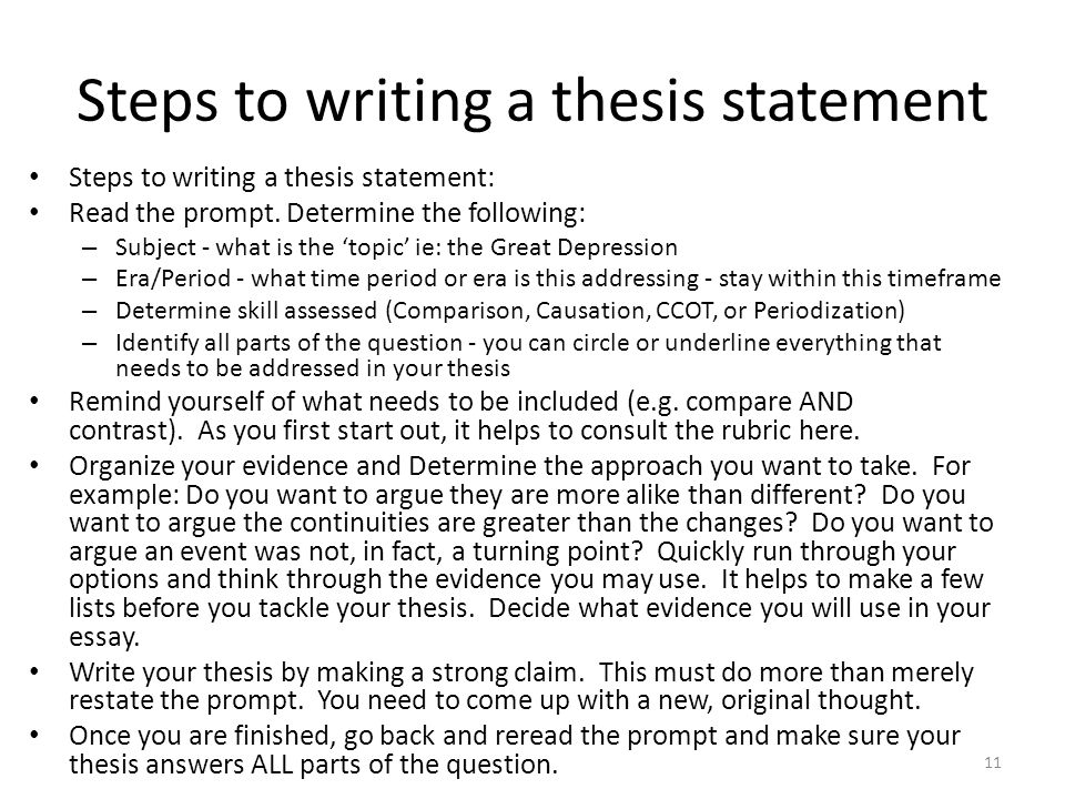 steps to writing a good thesis statement