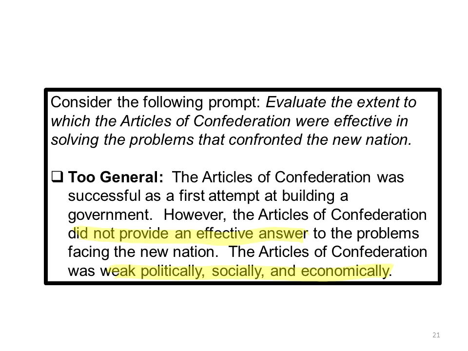 were the particular articles or reviews connected with confederation effective