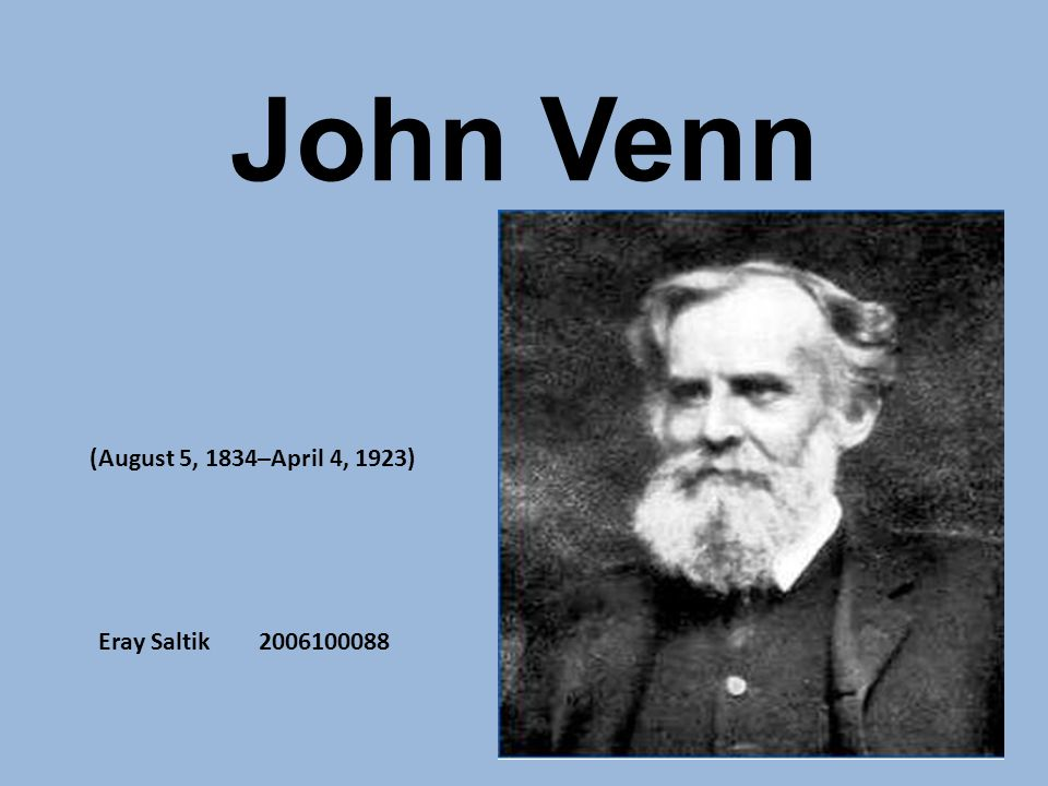 john venn 1834 1923 essay Its author, british logician john venn (1834-1923),  john venn's hypothetical infinite frequentism and  of venn 1866 [the logic of chance an essay on.