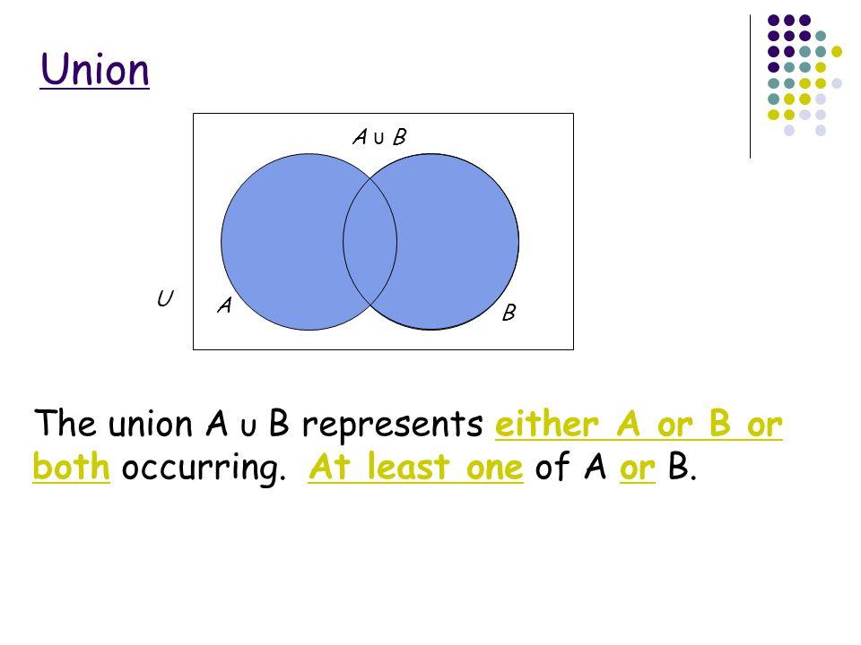 Venn diagrams ppt video online download union a b a b u the union a b represents either a or b or ccuart Images