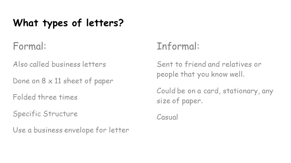 types of formal letter Friendly letter thank you letterapology letter invitation letter what are the different types of informal letters while formal lettersmay be written to.