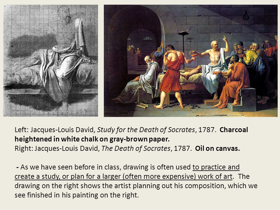 an analysis of jacques louis davis painting the death of socrates Constructive elements have on the meaning of the grid itself, a structural typology  of  ists crer since (see james w davis  unified drawing  13} early  examples include, at the turm of the french neoclassicist painter jacques louis  david in his painting  logistic inevitability of socrates's death by his own hand  as a con.