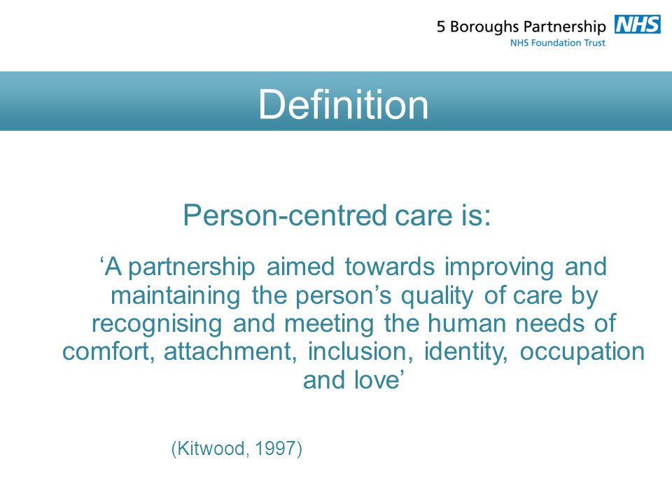 person centered care Person-centered care or culture change cclc is committed to supporting its member organizations as they work to incorporate principles of person-centered care into all aspects of their operations.