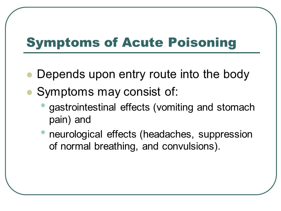 Symptoms of Acute Poisoning