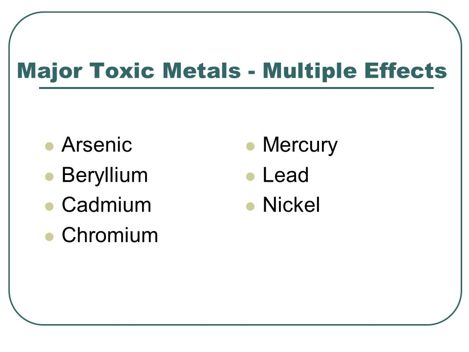 Major Toxic Metals - Multiple Effects