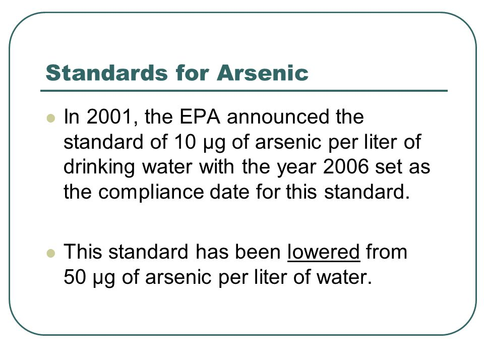 Standards for Arsenic