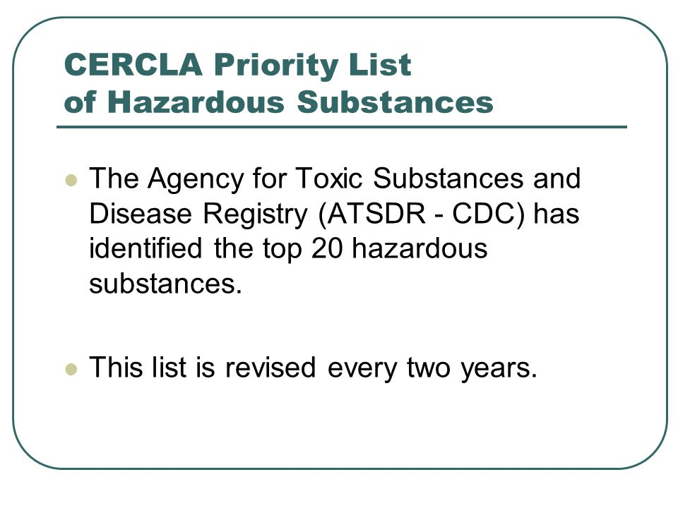 CERCLA Priority List of Hazardous Substances