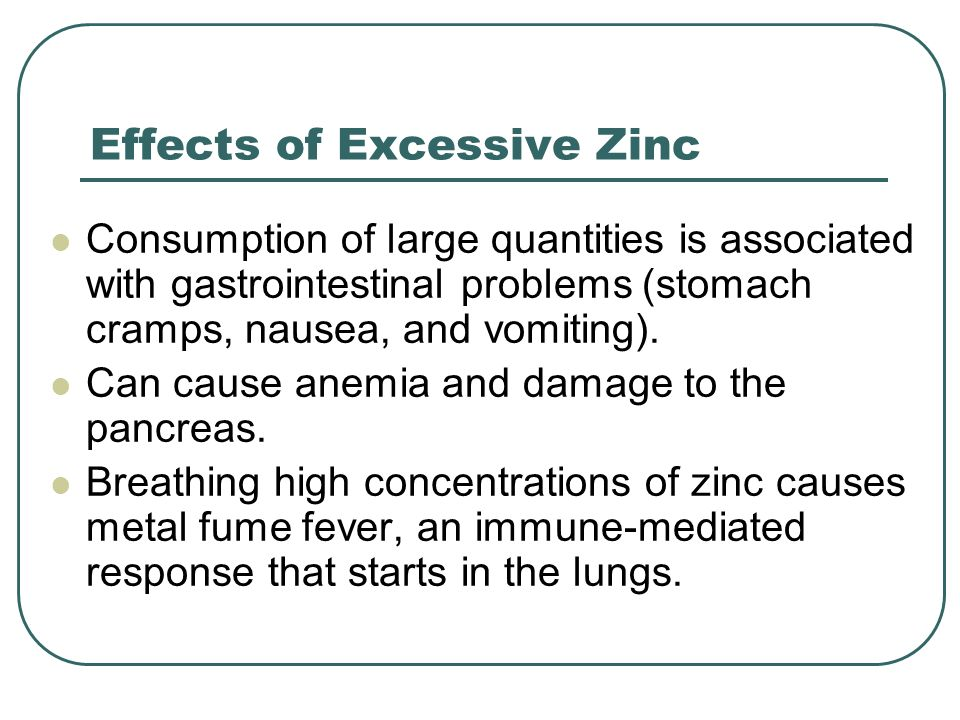Effects of Excessive Zinc