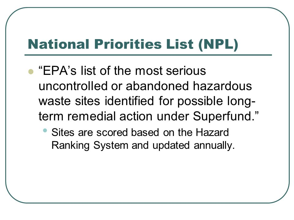 National Priorities List (NPL)