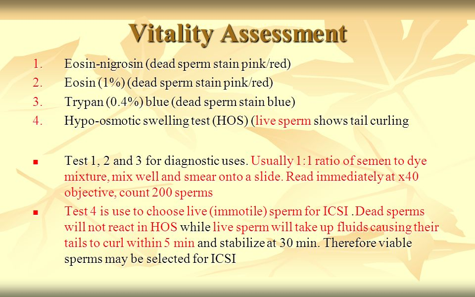 Sperm test vitality are