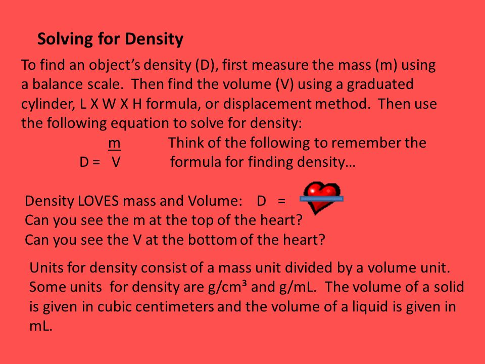 how to find volume when you know density and mass