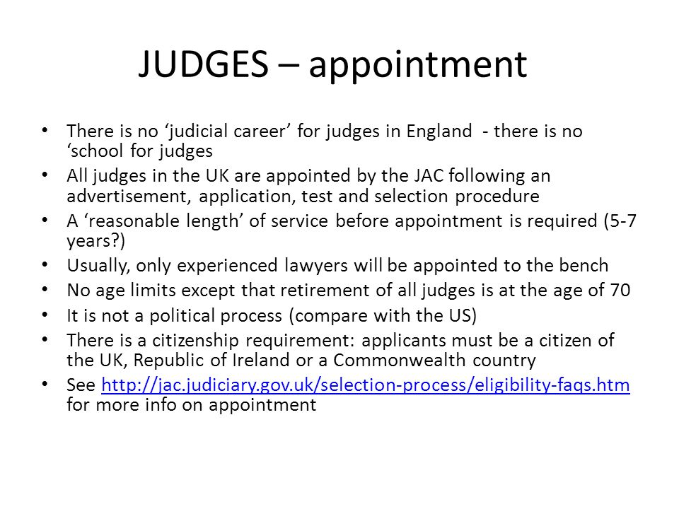 apointment of judges uk What should be the primary goals of a judicial appointments system, and how  much weight  why is achieving a diverse judiciary across the uk taking so long.