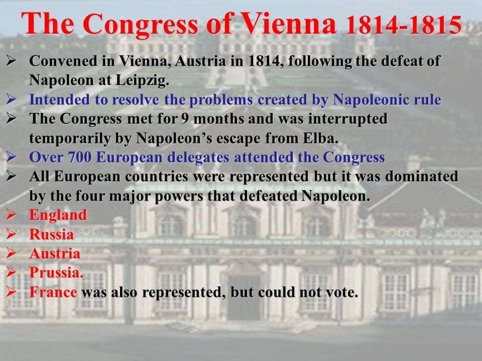 an overview of the congress of vienna