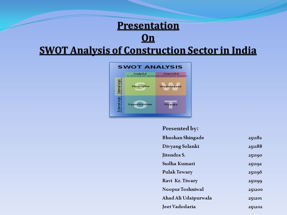 Presentation On SWOT Analysis of Construction Sector in India