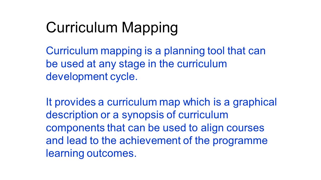 achieve alignment and congruence between curriculum components For establishing congruence between what is taught in  curriculum alignment, and  achieve their goals because curriculum mapping provides a .