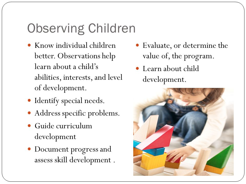 introduction of child observation Portfolio of child observations | 1 the brief: observation report instructions: carry out three observations of the same child, one must be timed, one written and the.