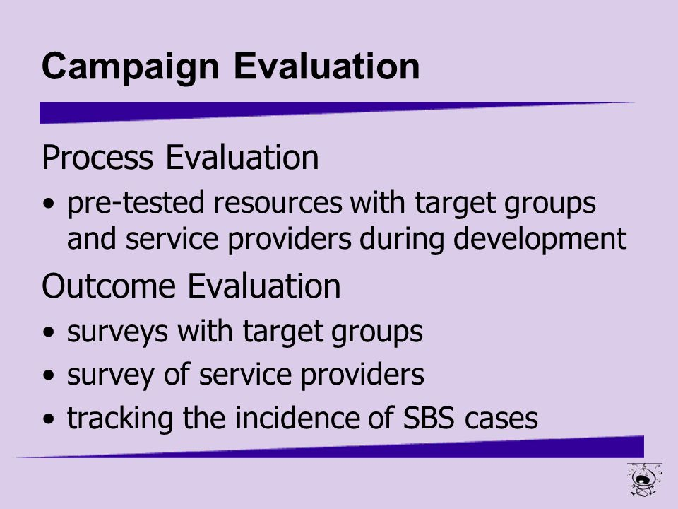 process and outcome evaluations View essay - process and outcome evaluations from hsm/270 270 at university of phoenix outcome evaluation gives the results of how effective the program is, and answers the question of whether the.